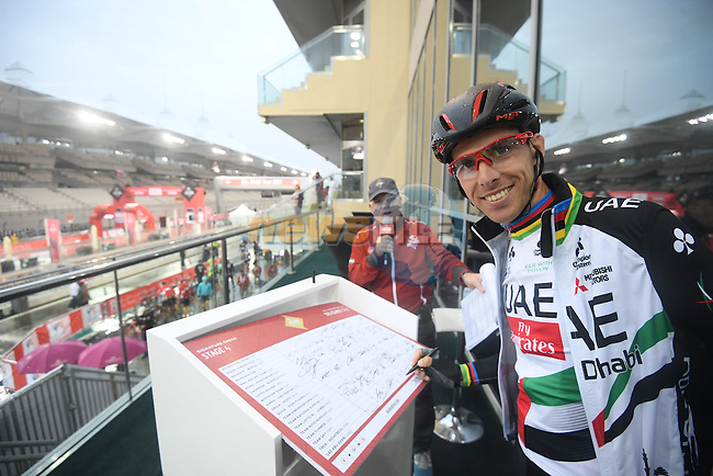 Race leader Rui Coata (POR) UAE Abu Dhabi team at sign on before the the start of Stage 4 Yas Island Stage of the 2017 Abu Dhabi Tour, 143km with 26 laps of 5.5km of the Yas Marina Circuit, Abu Dhabi. 26th February 2017.<br /> Picture: ANSA/Claudio Peri   Newsfile<br /> <br /> <br /> All photos usage must carry mandatory copyright credit (&copy; Newsfile   ANSA)