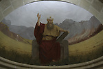 Israel, Jezreel valley. A wall painting of Moses at the Franciscan Church of the Transfiguration on Mount Tabor, designed by architect Antonio Barluzzi