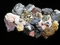 METAL ORES<br /> Large collection of metal ore specimen<br /> Bornite, Dolomite, Molybdenite, Skutterudite, Zincite, Chromite, Stibnite, Gummite, Cassiterite, Vanadinite, Cinnabar, Galena, Monazite, Bauxite, Strontianite, Cobaltite, Pyrite, Columbinite, Bismuth, Rhodochrosite, Rutile, Native Silver, &amp; Pyrolusite.