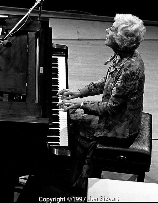 Marian McPartland, 9/19/75.Monterey Jazz Festival. English-born Jazz pianist, composer, writer, and the host of Marian McPartland's Piano Jazz on National Public Radio.