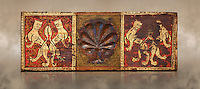 Gothic decorative painted beam panels with lions and a carved syalise tree, Tempera on wood. National Museum of Catalan Art (MNAC), Barcelona, Spain. Against a art background.