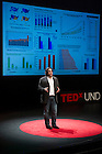 """Jan. 21, 2014; Nitesh Chawla delivers his talk titled, """"Big Data for Common Good: The Synergistic Effects of Wellness,"""" in Communities,"""" during the TEDxUND 2014 event in the Debartolo Performing Arts Center. Photo by Barbara Johnston/University Photographer"""