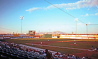 Ballparks: Adelanto Mavericks Stadium. View of game from Grandstand 1999. Seating capacity: 3808. Largest crowd: 6333, 7/4/92.