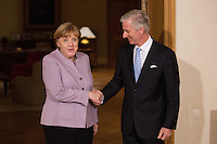 Angela Merkel et le roi Philippe de Belgique lors d'une rencontre au palais royal &agrave; Bruxelles.<br /> Belgique, Bruxelles, 12 janvier 2017<br /> Chancellor Angela Merkel and King Philippe  of Belgium pictured during a meeting at the Royal Palace in Brussels,<br /> Belgium, Brussels, 12 January 2017