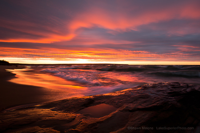 Miner's Beach Sunset, Pictured Rocks National Lakeshore, Munising Michigan