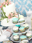 Food still life photo of cupcakes, china and a cake on a table. Catering.