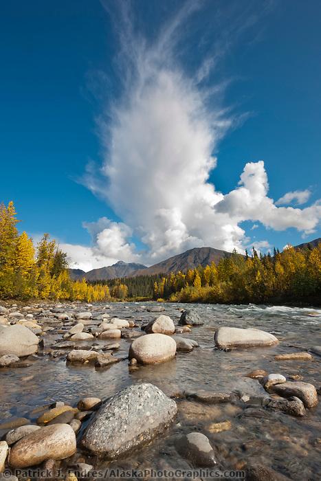 Stream drains out of the Alaska range mountains, interior, Alaska.