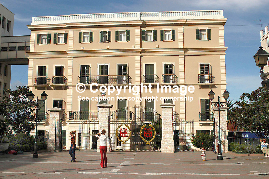 City Hall, John Mackintosh Square, Gibraltar. Ref: 200211041169...Copyright Image from Victor Patterson, 54 Dorchester Park, Belfast, UK, BT9 6RJ..Tel: +44 28 9066 1296.Mob: +44 7802 353836.Voicemail +44 20 8816 7153.Skype: victorpattersonbelfast.Email: victorpatterson@mac.com.Email: victorpatterson@ireland.com (back-up)..IMPORTANT: If you wish to use this image or any other of my images please go to www.victorpatterson.com and click on the Terms & Conditions. Then contact me by email or phone with the reference number(s) of the image(s) concerned.