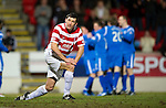 St Johnstone v Hamilton Accies....02.02.11  .Martin Canning looks to the heavens as Stevie May celebrates giving St Johnstone the lead.Picture by Graeme Hart..Copyright Perthshire Picture Agency.Tel: 01738 623350  Mobile: 07990 594431