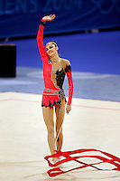 Anna Bessonova of Ukraine finishes with ribbon routine and waves to fans during All-<br /> Around final at 2004 Athens Olympic Games on August 29, 2006 at Athens, Greece. (Photo by Tom Theobald)