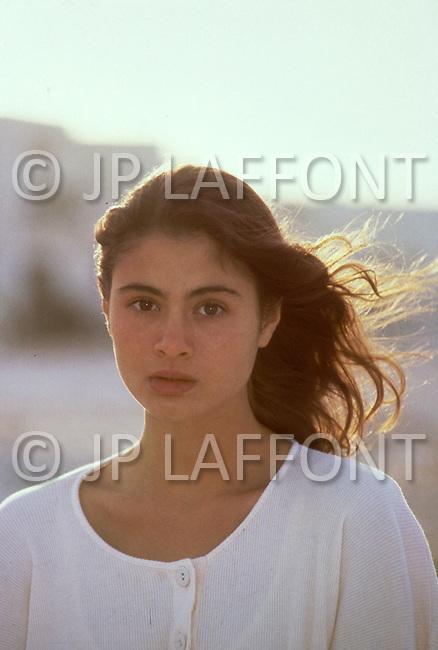 "El Kantaoui, Tunisia, May, 1985. British actress Charlotte Lewis seen in Tunisia where the making of Roman Polanski's movie ""The Pirates"" took place."