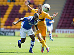 Motherwell v St Johnstone...11.08.12.Nigel Hasselbaink and Tom Hateley.Picture by Graeme Hart..Copyright Perthshire Picture Agency.Tel: 01738 623350  Mobile: 07990 594431