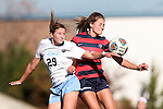 12 November 2016: North Carolina's Dorian Bailey (29) and Liberty's Devon Jones (right). The University of North Carolina Tar Heels played the Liberty University Flames at Fetzer Field in Chapel Hill, North Carolina in a 2016 NCAA Division I Women's Soccer Tournament First Round match. UNC won the game 3-0