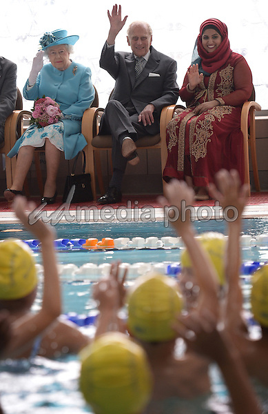 16 July 2015 - London, England - Queen Elizabeth II during a visit to the Abbey Leisure Centre in Barking. The Queen and the Duke of Edinburgh are visiting Barking and Dagenham as part of celebrations to mark its 50th anniversary as a London Borough. Photo Credit: Alpha Press/AdMedia