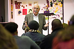 01/17/2013 - Somerville, Mass. - Richard M. Lerner, Professor of Child Development, gives a talk on the development of middle school children to local parents at the Healy School in Winter Hill on Thursday, January 17, 2013. (Alonso Nichols/Tufts University)