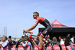 Peter Stetina (USA) Trek-Segafredo at sign on before Stage 1 of the 100th edition of the Giro d'Italia 2017, running 206km from Alghero to Olbia, Sardinia, Italy. 4th May 2017.<br /> Picture: Ann Clarke | Cyclefile<br /> <br /> <br /> All photos usage must carry mandatory copyright credit (&copy; Cyclefile | Ann Clarke)