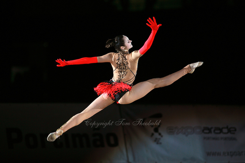 Anna Bessonova of Ukraine split leaps handsfree during gala at 2007 Portimao World Cup of Rhythmic Gymnastics on April 29, 2006.  (Photo by Tom Theobald)..