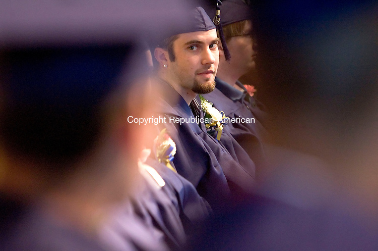 FALLS VILLAGE, CT- 22 MAY 2008- 052208JT05- <br /> Bryan Duhaime, a graduate of the Foothills Adult and Continuing Education Program, sits through the beginning of commencement exercises on Thursday at Housatonic Valley Regional High School in Falls Village. <br /> Josalee Thrift / Republican-American