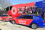 Bahrain-Merida team cars and bus before the start of Gent-Wevelgem in Flanders Fields 2017, running 249km from Denieze to Wevelgem, Flanders, Belgium. 26th March 2017.<br /> Picture: Eoin Clarke | Cyclefile<br /> <br /> <br /> All photos usage must carry mandatory copyright credit (&copy; Cyclefile | Eoin Clarke)