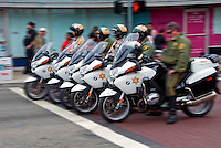 Sheriff's Department, Motorcycles, Riding, Lined Up