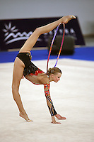 September 21, 2007; Patras, Greece;  Olga Kapranova of Russia begins hoop routine during the All-Around final at 2007 World Championships Patras.  Olga placed 3rd in the AA to qualify Russia for 2nd of 2 positions in the individual All-Around competition at Beijing 2008.  Photo by Tom Theobald. .