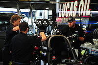 May 5, 2012; Commerce, GA, USA: NHRA crew members for top fuel dragster driver Brandon Bernstein during qualifying for the Southern Nationals at Atlanta Dragway. Mandatory Credit: Mark J. Rebilas-