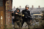 Belfast The Troubles 1980s. Royal Ulster Constabulary, RUC police British soldier and armed armed RUC officer.