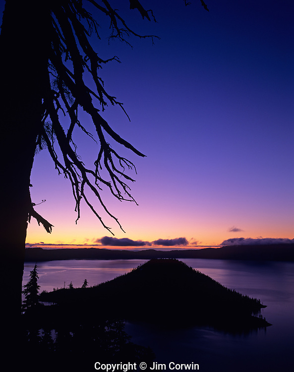 Crater Lake National Park Klamath County sunrise over Wizard Island Crater Lake Central Oregon State USA