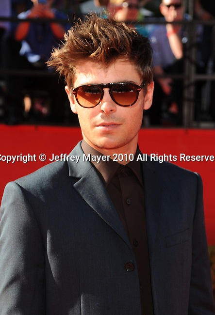LOS ANGELES, CA. - July 14: Zac Efron arrives at the 2010 ESPY Awards at Nokia Theatre L.A. Live on July 14, 2010 in Los Angeles, California.
