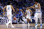Kentucky Wildcats guard De'Aaron Fox drives up the court against the North Carolina Tar Heels during the 2017 NCAA Men's Basketball Tournament South Regional Elite 8 at FedExForum in Memphis, TN on Friday March 24, 2017. Photo by Michael Reaves | Staff