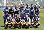 27 June 2004: The San Jose CyberRays starting lineup (with guest players from the New York Power). Front row (l to r): Mandy Clemens, Shannon Boxx, Christie Rampone, Keri Sanchez. Back row (l to r): Betsy Barr, Christie Welsh, Michelle French, LaKeysia Beene, Thori Bryan, Sissi, Amanda Cromwell. The Philadelphia Charge defeated the San Jose CyberRays 2-0 at the Home Depot Center in Carson, CA in Womens United Soccer Association soccer game featuring guest players from other teams.
