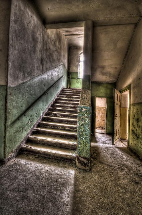 Abandoned lunatic asylum north of Berlin, Germany. Stairway