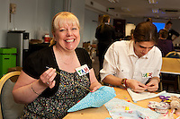 Staff experienced an unsual induction training day for the soon to be opened Derby Hobbycraft store. Here, Tammy Wibberley trys her hand at sewing.