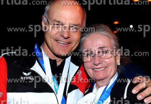 13.02.2014, Austria Tirol House, Krasnaya Polyana, RUS, Sochi, 2014, im Bild KARL STOSS, <br /> REGINA HEITZER (SILBERMED GEWINNERIN EISKUNSTLAUF OLYMPIA 1964 ) // KARL STOSS, <br /> REGINA HEITZER (SILBERMED GEWINNERIN EISKUNSTLAUF OLYMPIA 1964 ) during the Olympic Winter Games Sochi 2014 at the Austria Tirol House in Krasnaya Polyana, Russia on 2014/02/14. EXPA Pictures &copy; 2014, PhotoCredit: EXPA/ Erich Spiess
