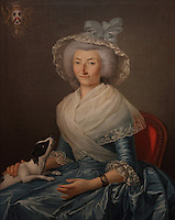 Portrait of Madame Barbe de la Barthe, by Pierre Lacour, 1745-1814, from the collection of the Musee des Arts Decoratifs de Bordeaux, exhibited in the Musee d'Aquitaine, Cours Pasteur, Bordeaux, Aquitaine, France. Picture by Manuel Cohen