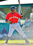 8 July 2012: State College Spikes infielder Samuel Gonzalez in action against the Vermont Lake Monsters at Centennial Field in Burlington, Vermont. The Spikes fell to the Lake Monsters 8-2 in NY Penn League action. Mandatory Credit: Ed Wolfstein Photo