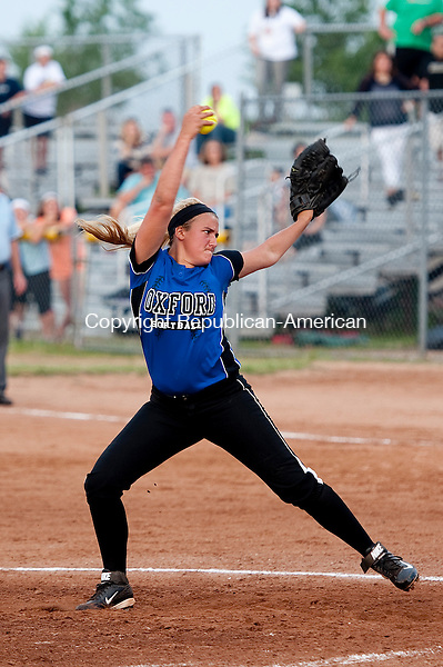 STRATFORD, CT--061215JS01-  Oxford's Ashley Guillette (25) delivers a pitch during their Class M state championship game with St. Joseph Friday at DeLuca Field in Stratford. <br /> Jim Shannon Republican-American