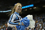 09 November 2012: UNC cheerleader. The University of North Carolina Tar Heels played the Gardner-Webb University Runnin' Bulldogs at Dean E. Smith Center in Chapel Hill, North Carolina in an NCAA Division I Men's college basketball game. UNC won the game 76-59.