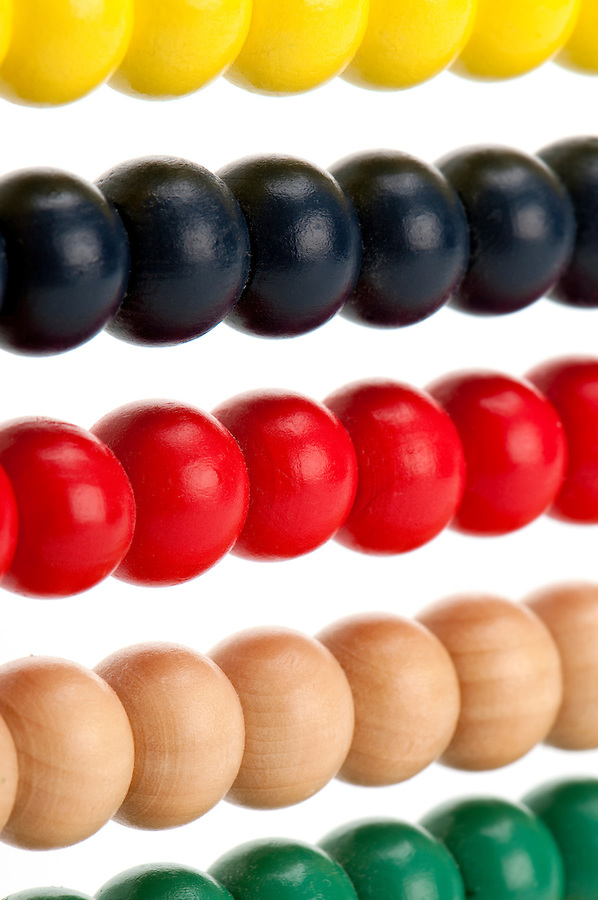 Close up Image of colorful abacus beads.