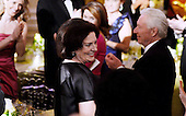 Margaret Trudeau, mother of Prime Minister Justin Trudeau of Canada smiles at a state dinner honoring her son and and Mrs. Sophie Gr&eacute;goire Trudeau  at the White House March 10, 2016 in Washington, DC. <br /> Credit: Olivier Douliery / Pool via CNP