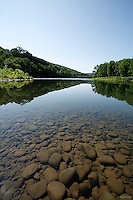 This view of the Upper Delaware River is at the mouth of Basket Creek, near Long Eddy, NY. The Upper Delaware Scenic and Recreational River, part of the National Park Service's Wild and Scenic Rivers System, stretches 73.4 miles along the New York - Pennsylvania border.<br />
