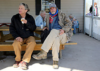 NWA Democrat-Gazette/DAVID GOTTSCHALK  Alvin Davis (right), a resident of the Walker Family Residential Community, speaks with Trey Stanley(left) Thursday, April 6, 2017, at the 7 Hills Homeless Center about the creation of the Independent Workshop, Homeless Workshop, in Fayetteville. Stanley would be a foreman at the shop that would manufacture, produce and sell items by the homeless. The shop is in it's planning stages and would help individuals become self sufficient by gaining marketable skills.