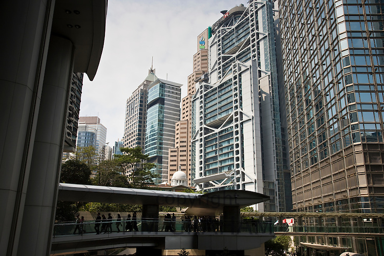 Pedestrian walkway crosses Connaught Road in Financial District, Central Hong Kong, China