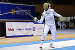 DURHAM, NC - FEBRUARY 25: Notre Dame's Amanda Sirico during the Women's Epee championship match. The Atlantic Coast Conference Fencing Championships were held on February, 25, 2017, at Cameron Indoor Stadium in Durham, NC.