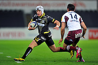 Dan Fish of the Ospreys in possession. European Rugby Champions Cup match, between the Ospreys and Bordeaux Begles on December 12, 2015 at the Liberty Stadium in Swansea, Wales. Photo by: Patrick Khachfe / JMP