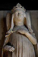 Gisant of Jeanne of Evreux (1307 - 1371), marble, circa 1327, Abbey church of Saint Denis, Seine Saint Denis, France. Picture by Manuel Cohen