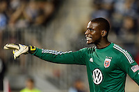D. C. United goalkeeper Bill Hamid (28). The Philadelphia Union defeated D. C. United 2-0 during a Major League Soccer (MLS) match at PPL Park in Chester, PA, on August 10, 2013.