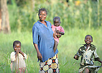 A mother and her children in the Congolese village of Wembo Nyama.