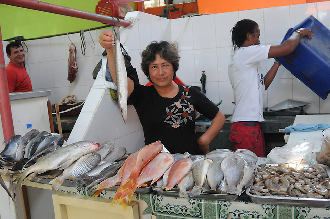 Lady peddling fish at Municipal Market, Banos, Ecuador