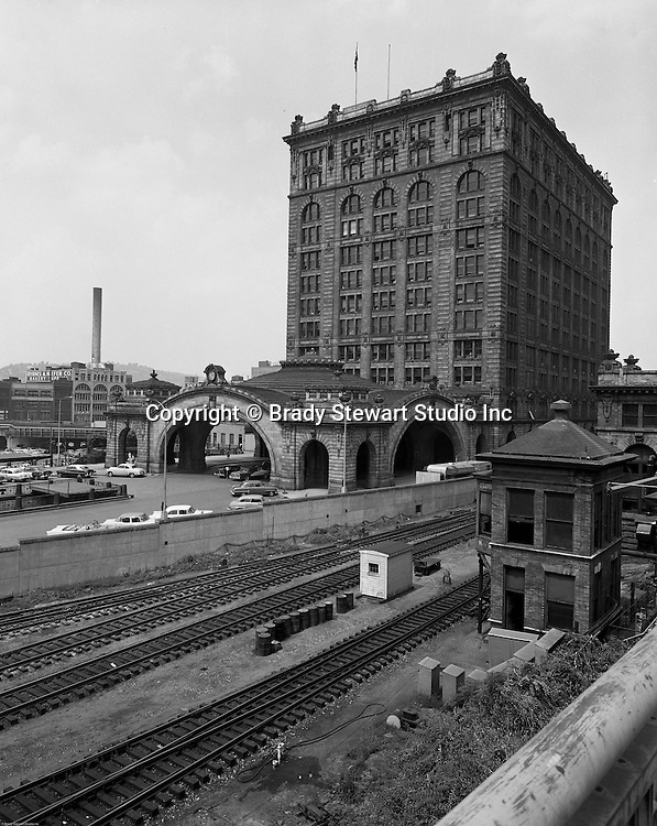 Pittsburgh PA - View of the outside of the Pennsylvania Railroad's Pittsburgh Penn Station - 1959